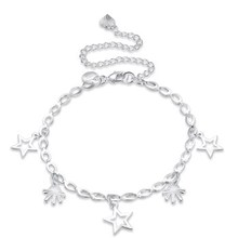 Fine Star Charms Anklets for Women Silver Plated Anklet Jewelry Summer Charm Anklet Foot Jewelry