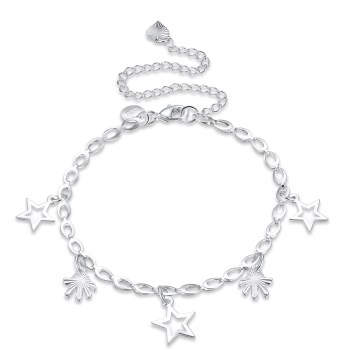 MEIJIA Fine Star Charms Anklets for Women Silver Plated Anklet font b Jewelry b font Summer