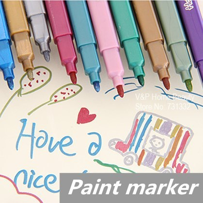 60 pcs/Lot Metallic color pen Paint marker Highlighter for art brush foto Kawaii Stationery novelty School supplies touchnew 60 colors artist dual head sketch markers for manga marker school drawing marker pen design supplies 5type