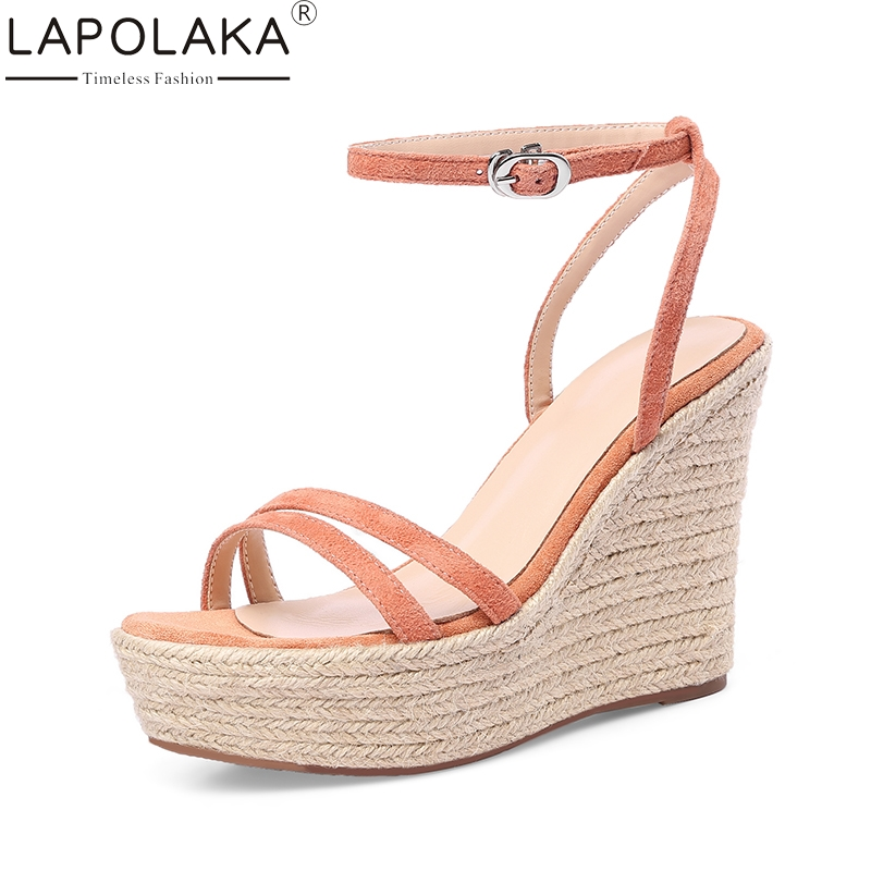 LAPOLAKA 2018 Kid Suede Genuine Leather Wedges High Heel Woman Shoes Party Buckle Sweet Women Shoes Summer Sandals new women sandals low heel wedges summer casual single shoes woman sandal fashion soft sandals free shipping