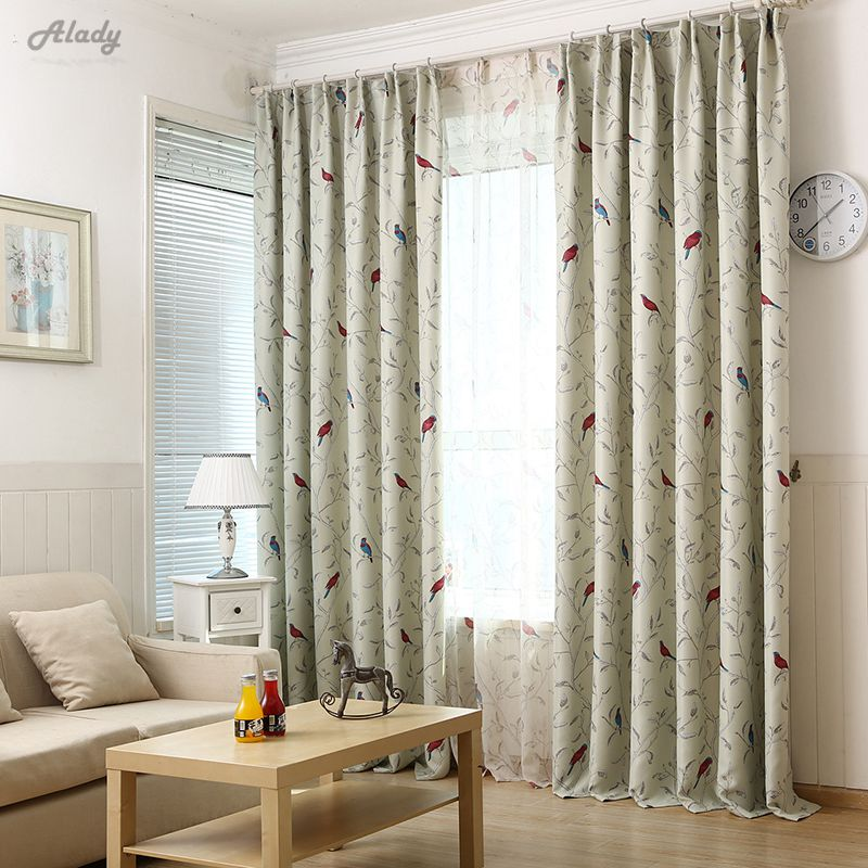200*260cm Pastoral Style Birds Window Curtains For Living