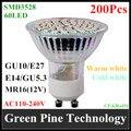 FedEX Envío Libre 200 unids 3528 SMD 60 LED 4 W E27 E14 GU10 MR16 AC110-240V (DC12V) Bombilla LED Spotlight Downlight lámpara de Luz