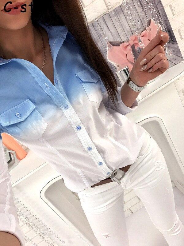 2017 New Women cotton Blouse Summer Ladies Tops Casual V Neck Blouses Loose Shirts Gradual Change