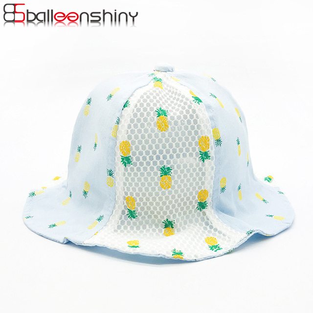 BalleenShiny Baby Pineapple Bucket Hat Spring Summer Fruit Mesh Cap Sweet  Sun Hat Soft Breathable Children Kids Cool New Cap 8a9553a642d