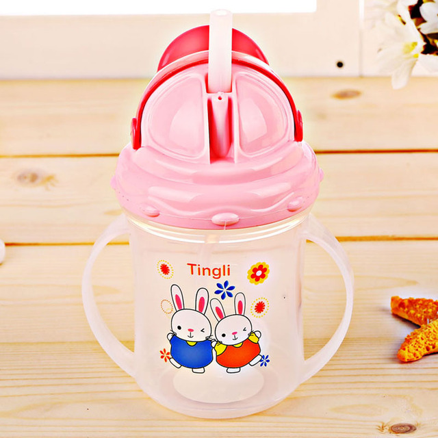 HOT SALE Baby Bottles Kids Straw Cup Drinking Bottle Sippy Cups With  Handles Design Feeding Bottle PP Safe Plastic Training Cup 90df5ef5d55a