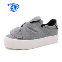 Women Canvas Shoes 2017 New Famous Brand Korea Style College Students Casual Shoes Bow Butterfly Knot