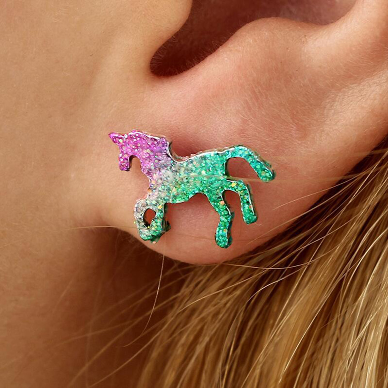 Colorful Glitter Unicorn Earrings For Women Men Silver Color Animal Horse Stud Earring Party Jewelry Bling Bling Ear Accessories ...