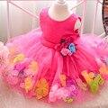 De los nuevos niños princess tutu vestido del funcionamiento del vestido del vestido del tutú muchachas del verano pétalos de boda