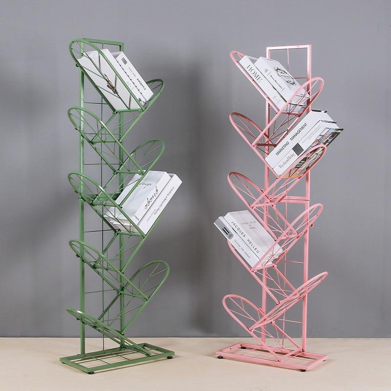 Nordic simple modern color wrought iron bookshelf newspaper rack floor decoration storage rack shoe rack home storage