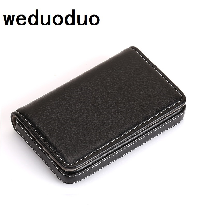 Weduoduo Business ID Credit Card Holder Brand Metal Aluminum Card Holder Fashion PU Leather Porte Carte high guality card case app blog brand cute cat credit card holder 11 bits business card holder women girls cards bag case porte carte free shipping