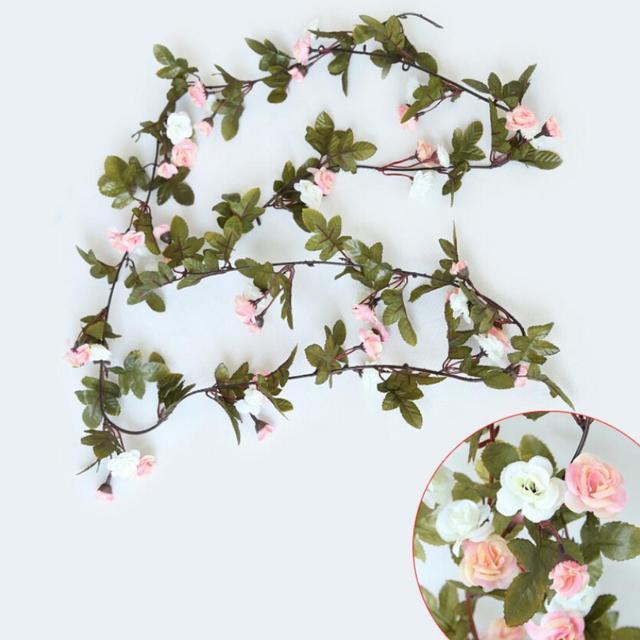 Shabby Chic Rose Rose Guirlande Fleur Vintage Style Chaîne DE MARIAGE  Chambre Fenêtre Gardenia Rotin Partie