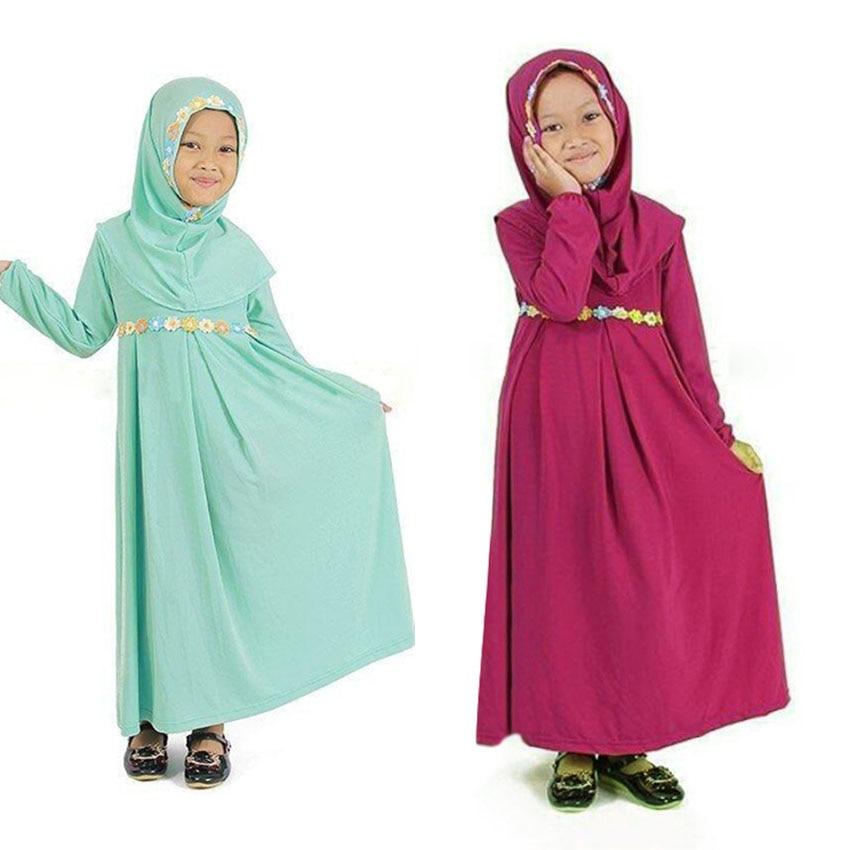 Islamic Traditional Costumes 2PCs Hijab Dress Set for New Born Infant Girls Turkish,Arabic Wear Muslim Abaya Ramadan Hijab Scarf