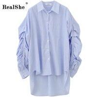RealShe Fashion Women Shirts Women Lape Blue Striped Asymmetrical Tops And Shirts Ladies Long Sleeve Top Blouse Camisas Femenina