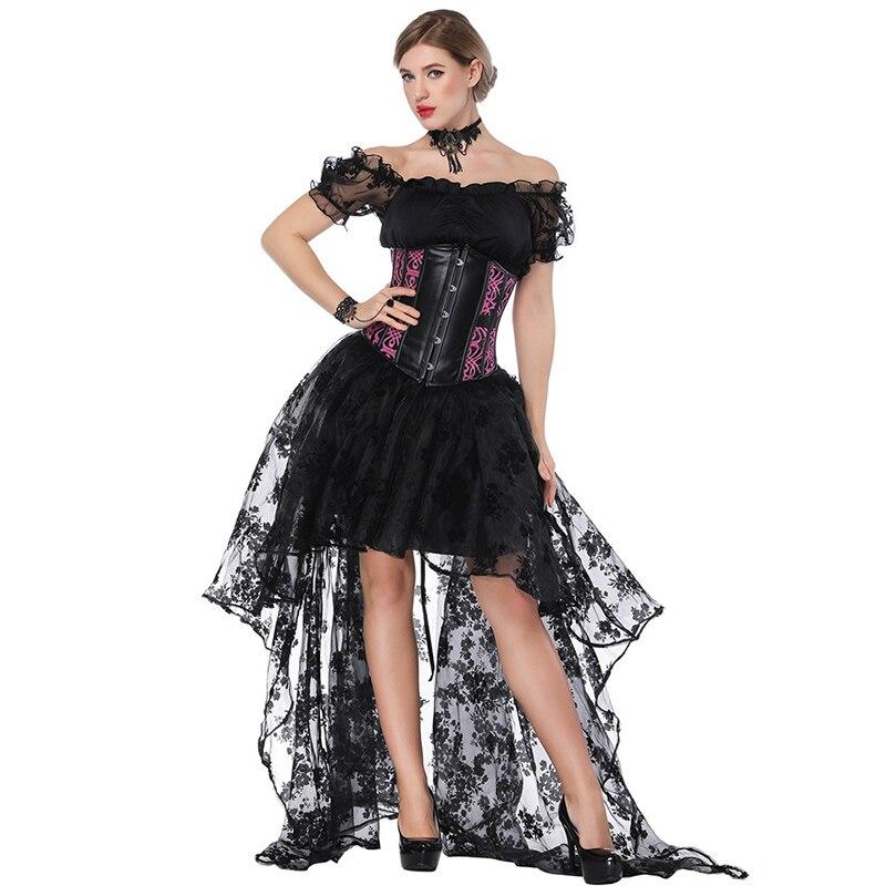 Chaud 3 pièces noir Burlesque robe Steampunk vêtements femmes Sexy Corset ensemble victorien gothique Costume Vintage Corsetti E Bustini