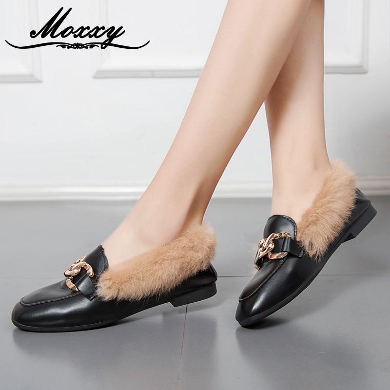 b07e82db2026 Moxxy Autumn Genuine Leather Shoes Women Flat Shoes Suede Warm Plush Slip  On Low Heel Women Loafers Fur Slippers Casual Slides