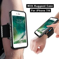 Phone Shockproof Case And Armband For IPhone 7 8 Sports Wristband With Dual Layer Rugged Case