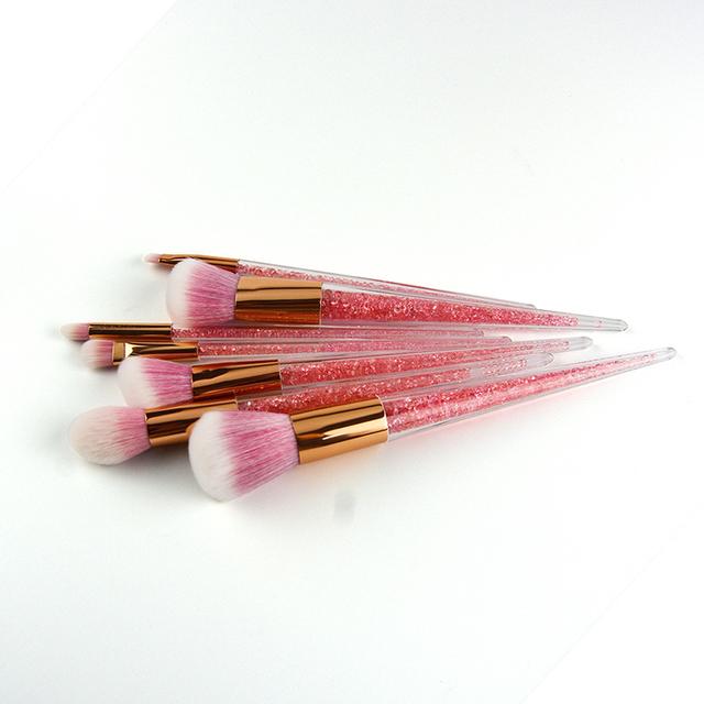 New 7pcs Pink Diamond Crystal Handle Premium Full Function Unicorn Makeup Brushes Portable Cosmetic Beauty Make Up Brushes