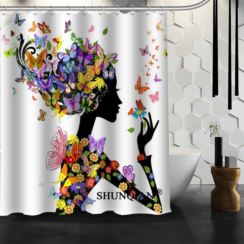 Best Nice Custom Butterfly Girl Shower Curtain Bath Curtain Waterproof Fabric Bathroom Curtain MORE SIZE A6.1-119