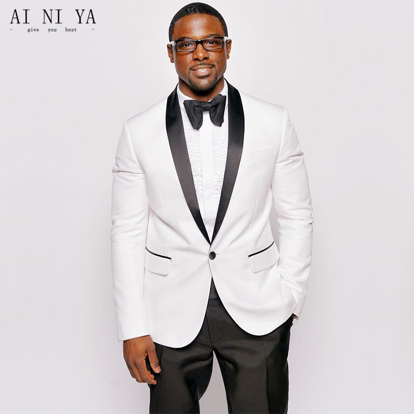 Slim Fit White Men Tuxedos Jacket Black Shawl Collar Blazer Bridegroom Suits