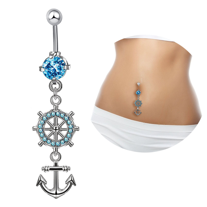Blue Anchor Rudder Pirates of the Caribbean Sexy Dangle Belly Bars Piercing Crystal Body Jewelry Navel Piercing Rings Drop
