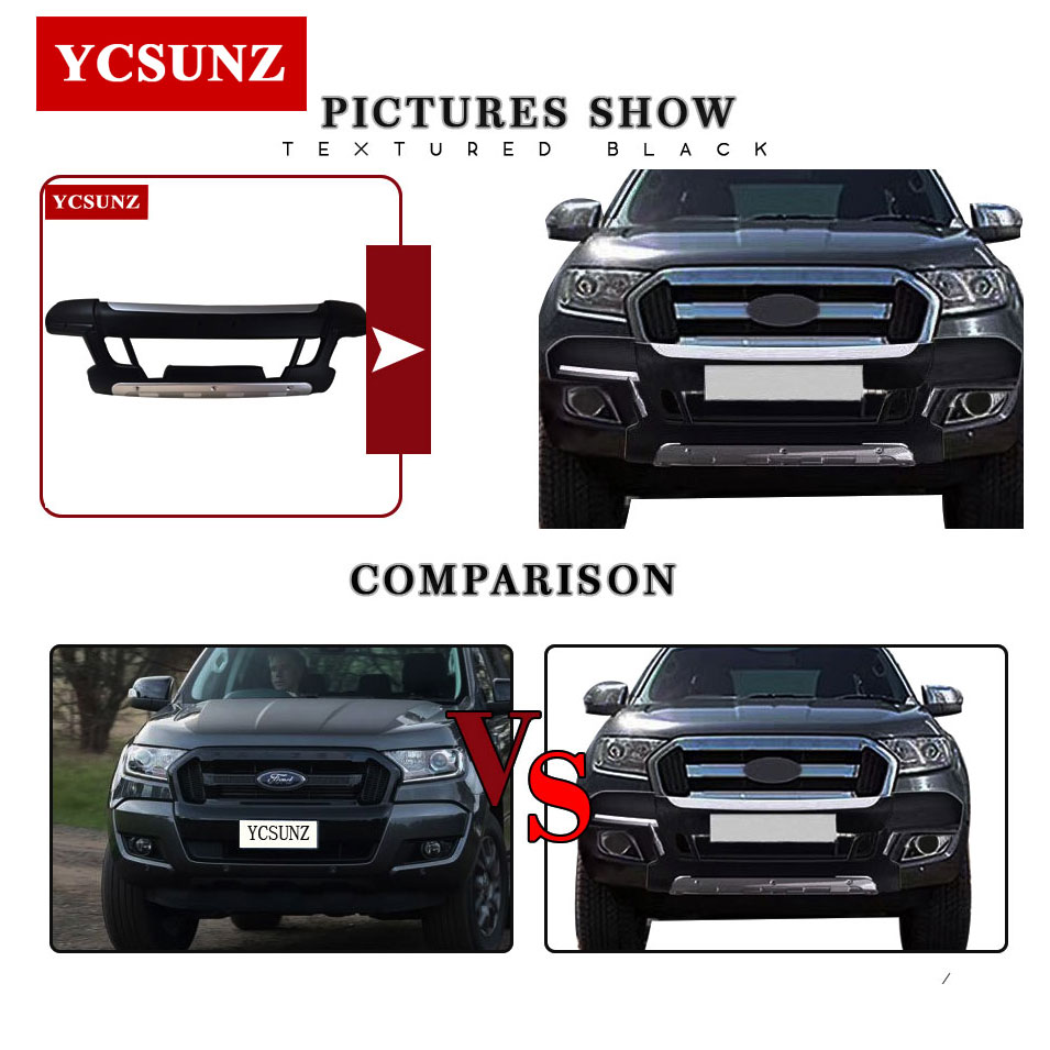 Front body kits for ford ranger 2017 wildtrak accessories front bumper for ford ranger 2016 2018 front guards parts ycsunz in body kits from automobiles