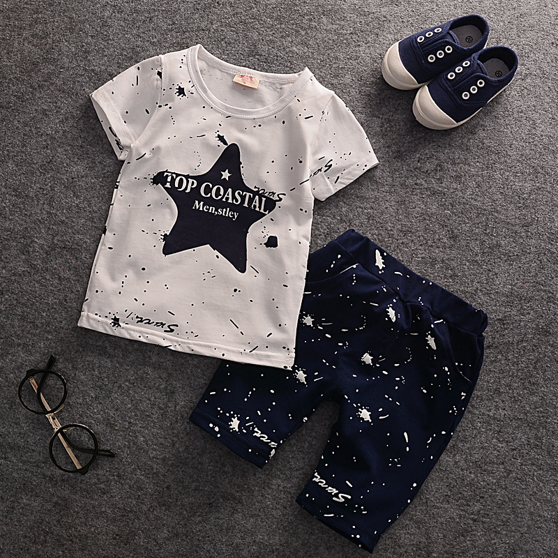 2016 Hot Retail New Boys Baby Clothing Children Wear Short Sleeve Blue Star Baby T-shirts+pants Summer Kids Clothes Suits Bebes boys soccer uniform 2017 summer wear short sleeved shirt quick drying fabric football suits children s clothing baby