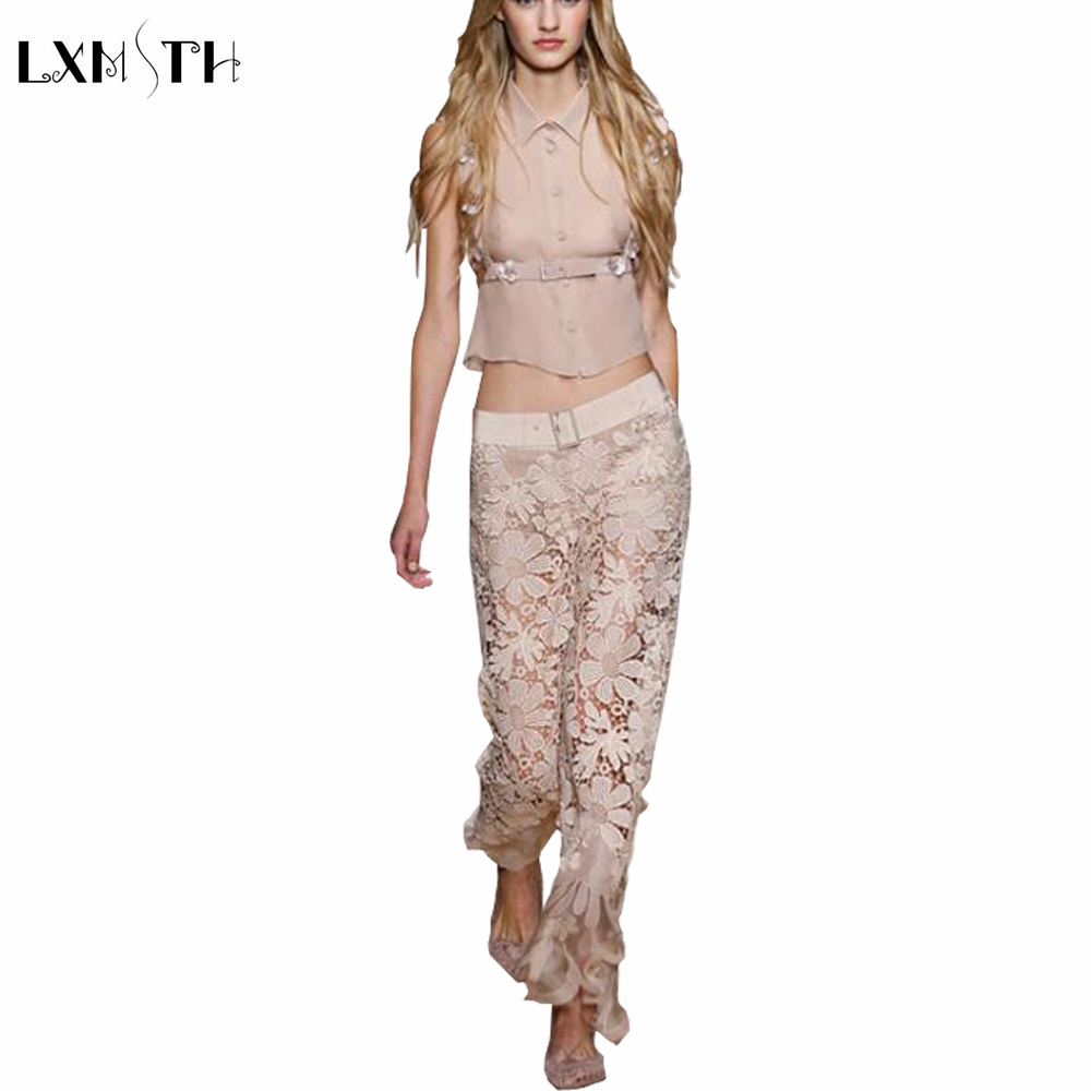 Runway Set Women 2019 Summer New Fashion Sexy Sleeveness Short Shirt and Lace Embroidery Flowers Pants Suits Sets Sashes Button