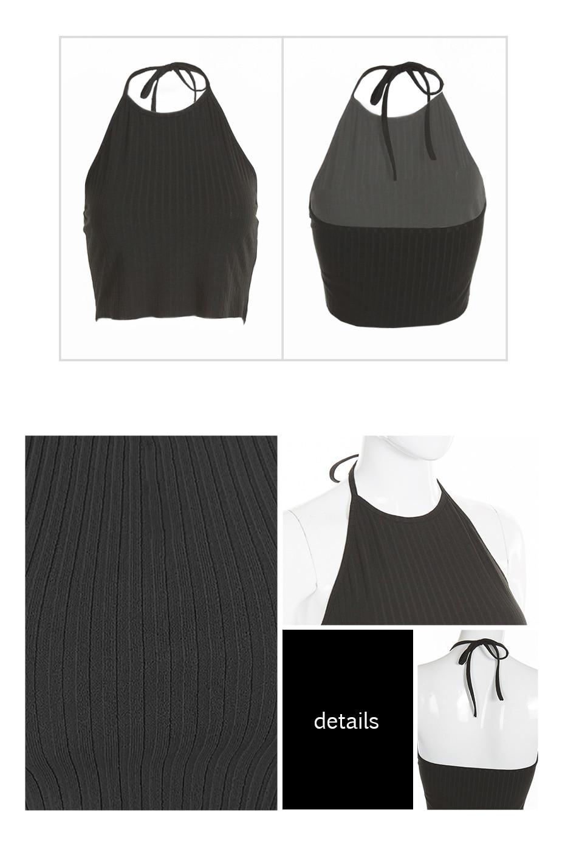 12867c234f4a Dropship 2018 Women Striped Cropped Camisole Feminino Solid Black ...