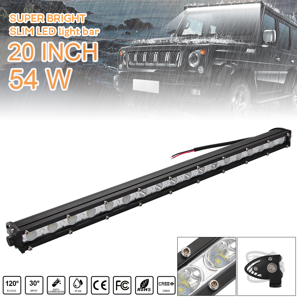 20 Inch 54W Car LED Strip Light Bar Single Row Off Road Led Lights with Mounting Brackets for Jeeps SUV Motorcycles Auto