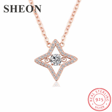 SHEON Authentic 925 Sterling Silver Pave Clear CZ Dazzling Star Necklaces & Pendants For Women Jewelry Gift