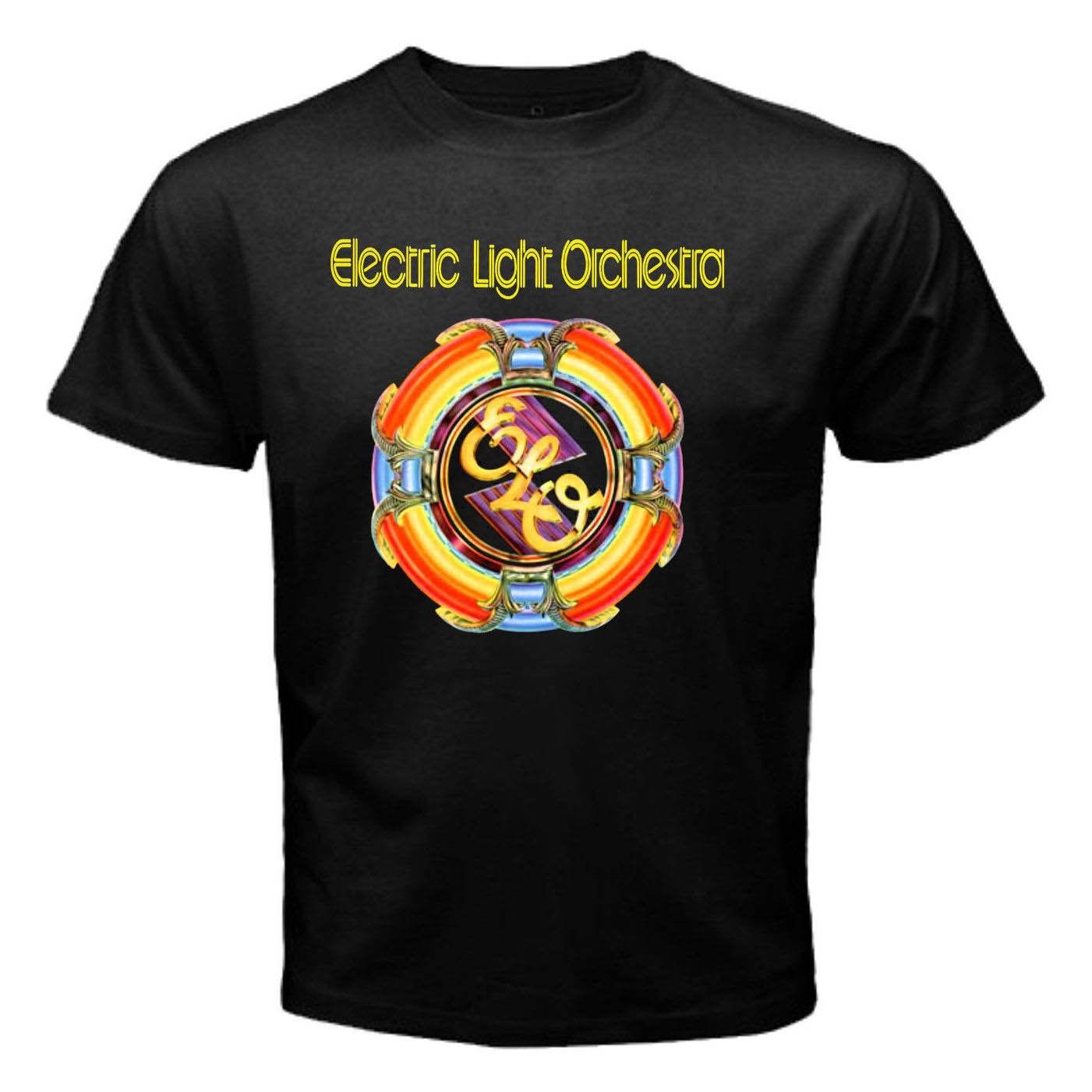 New ELECTRIC LIGHT ORCHESTRA Tshirt Rock Band ELO Logo Men's T-Shirt Print T-Shirt Mens Short