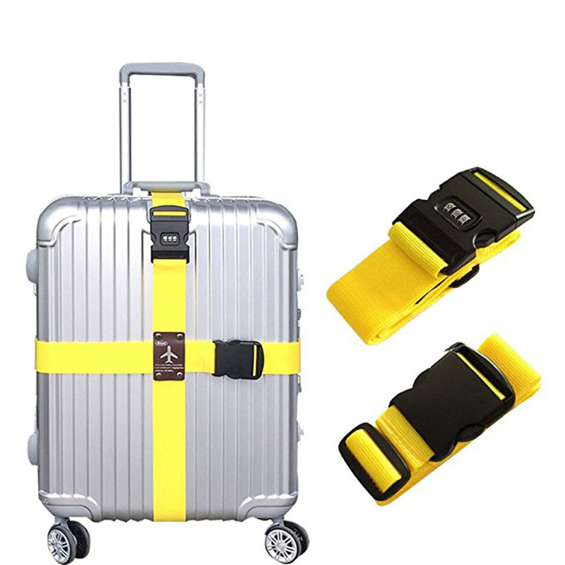 Detachable Cross Travel Luggage Strap Packing Belts Suitcase Bag Security Straps with Lock LXX9