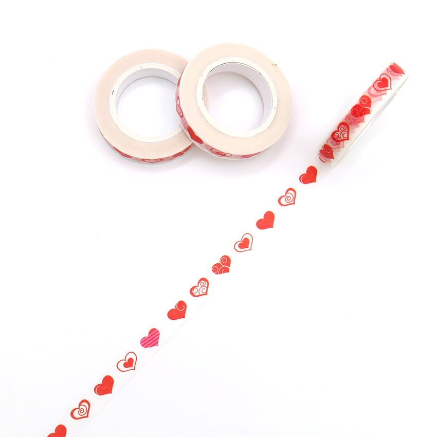 10m*8mm Creative Love Heart Washi Tape High Sticky Masking Tape Office Supply Hand Tear Adhesive Paper Tape DIY Book Diary