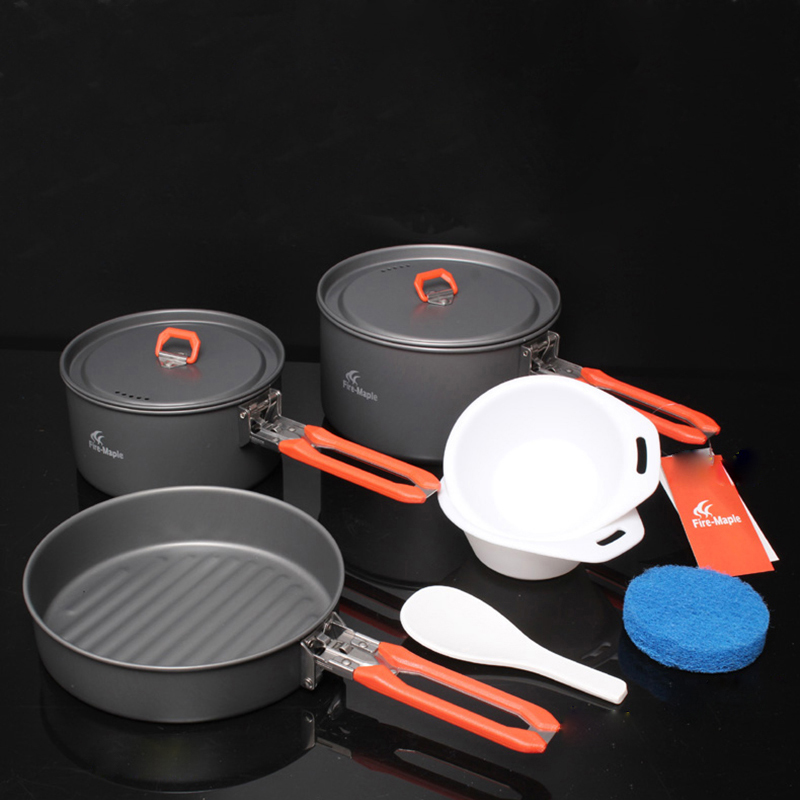 Fire Maple 2-3 Person Camping Cooking Set Pannikin Medium Pot Frying Pan Outdoor Camping Hiking Picnic Cutlery Set Feast 3 fire maple fmc td3 camping titanium pot set ultralight 1 2 person outdoor picnic cooking cookware pot frying pan 174g
