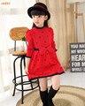 IAiRAY марка 2017 новое прибытие девушки с длинным рукавом красный свитер платье детей одежды девушки длинный свитер бантом пуловер трикотажное платье