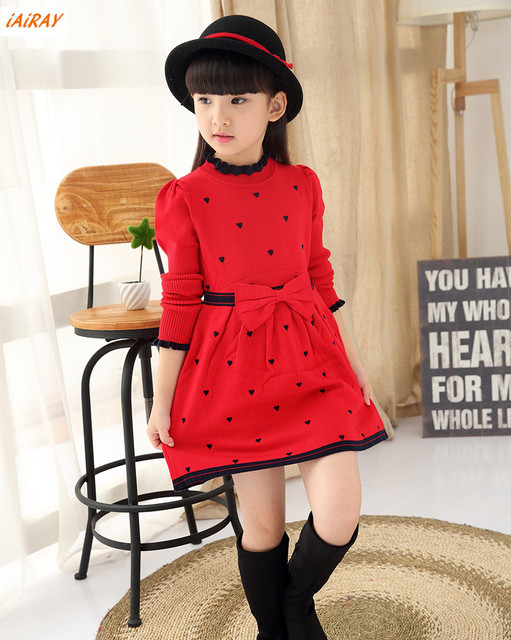 228206e20 iAiRAY brand 2017 new arrival girls long sleeve red sweater dress ...