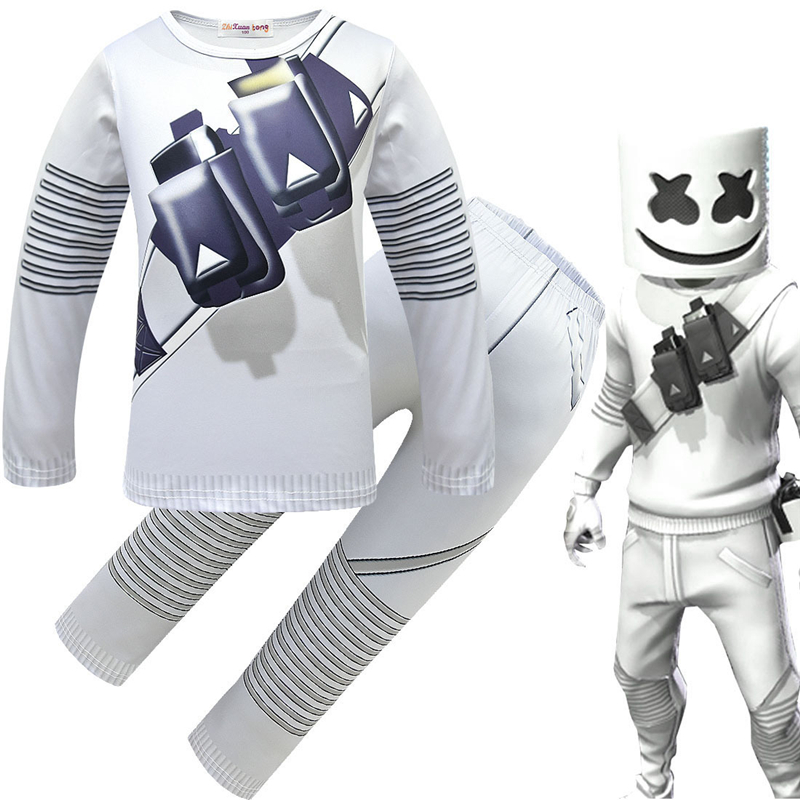 Methodical Marshmello Dj Mask Boys Long Sleeve T-shirt Suit 2019 New Spring Sweatshirts Cotton Girls Cosplay Costume Kids Hoodie Tracksuits Ideal Gift For All Occasions