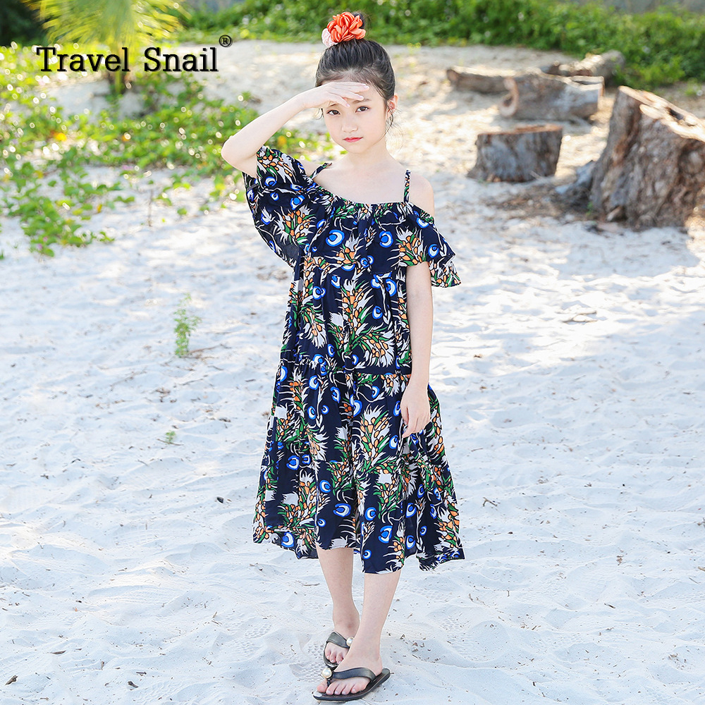 Travel snail toddler girls dress for kids beach dress for children clothing girls dress cotton floral 5-10 years 2018 Summer New wholesale kids clothing 2018 toddler girls summer clothing beach mermaid swimsuit teenage girls clothes for 10 years bikini suit
