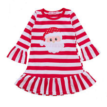 Christmas Girls Party Dress Infant Kids Baby Girls O-neck Long Sleeve Striped Print Princess Dress Kids Winter ClothingLR2(China)