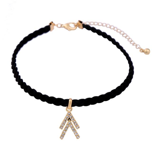 b77400164b7e 2017 tendencias de la moda trenzado negro gargantilla collar cristal  encanto gótico joyería collar de cuero