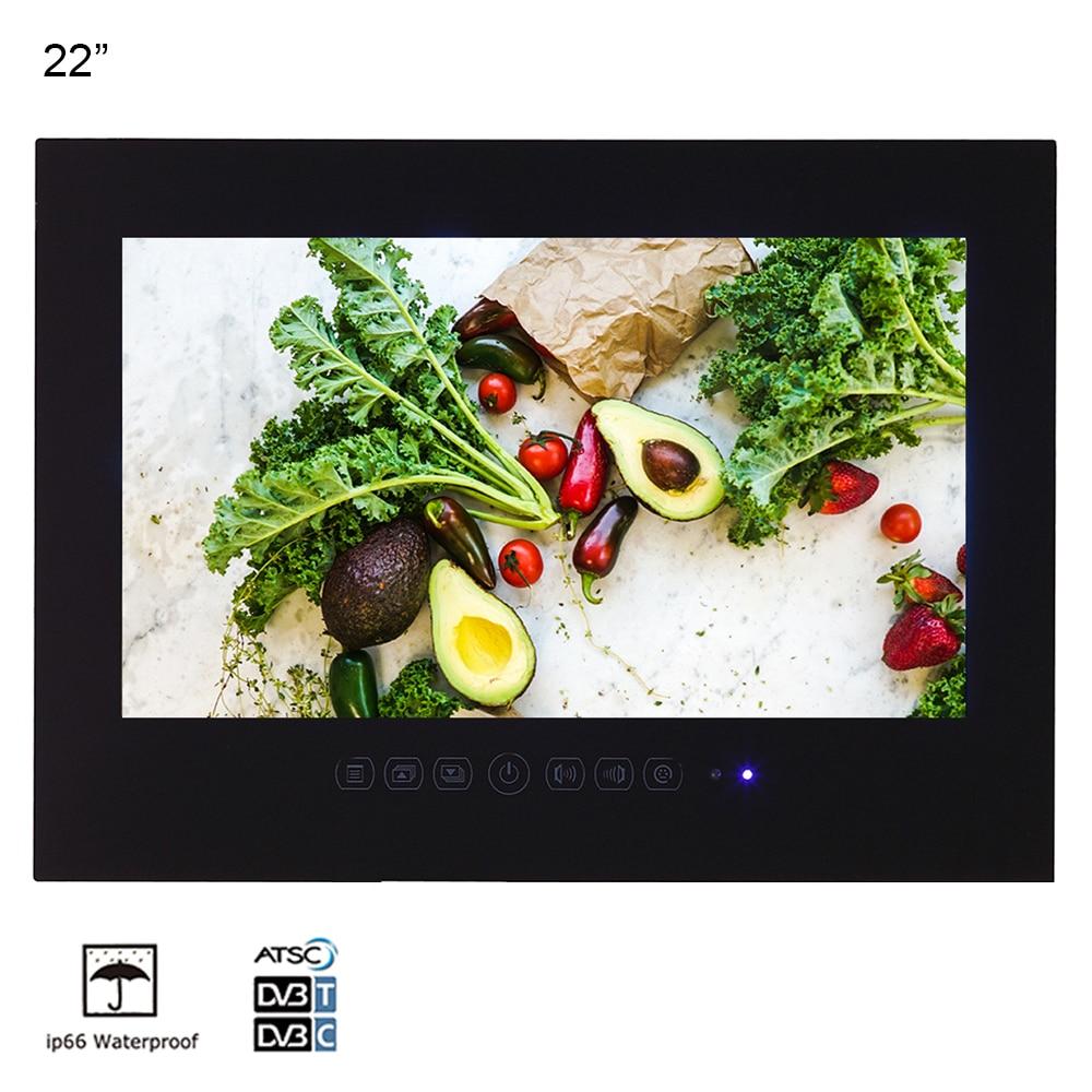 Souria 22 pouces hôtel intérieur publicité télévision IP66 étanche évalué multifonctionnel salle de bains LED TV noir/blanc