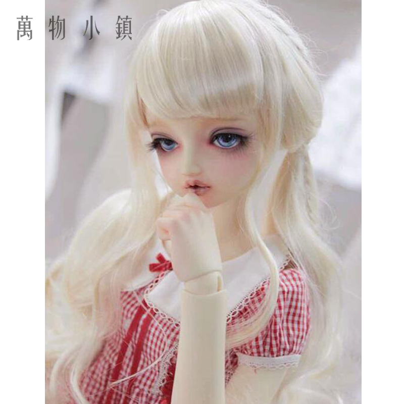New 21.5-23.5cm Imitation Mohair Pale Golden Double pony tail 1/3 BJD Doll Wig 8 9 bjd wig silver knights of england volume mohair wig spot