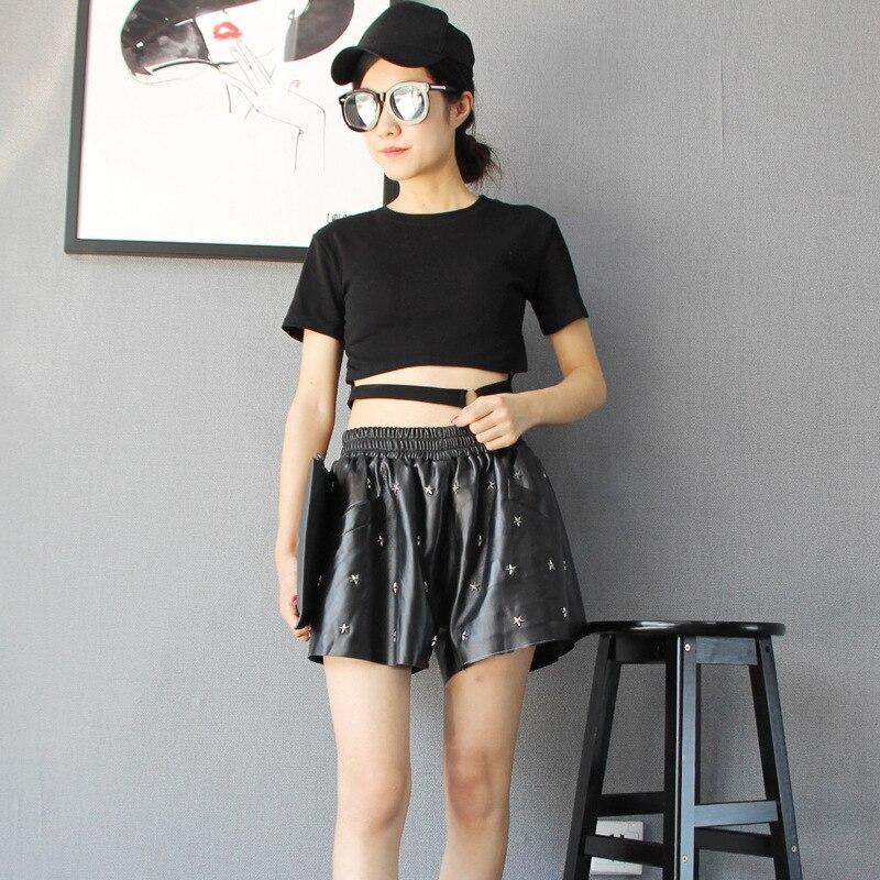 Loose Pierna Punk Black Cintura Ancho Oveja Star Fit De Cortos Mujeres Remache Mujer Cuero Genuino Harem Piel Casual La Pantalones Marca Nuevo Elástica Bq8w6xE7