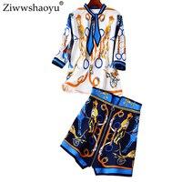 Ziwwshaoyu Мода o-образным вырезом три четверти топ + Империя юбка элегантный характер печати устанавливает 2019 сезон весна-лето новые женские