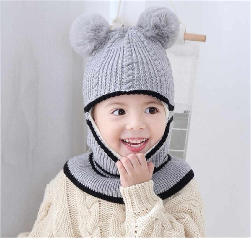 02056f120ba ... Yyun Children winter Balaclava Boys Girls Warm Soft Knit Beanie Scarf  Toddler Kids Pompom Face Mask