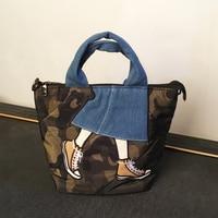 Eco Shopping Bag Women 2019 Oxford Cloth Handbag Fashion Crossbody Bag Casual Tote Bag Cartoon Pictures Denim Shoulder Bag Girls