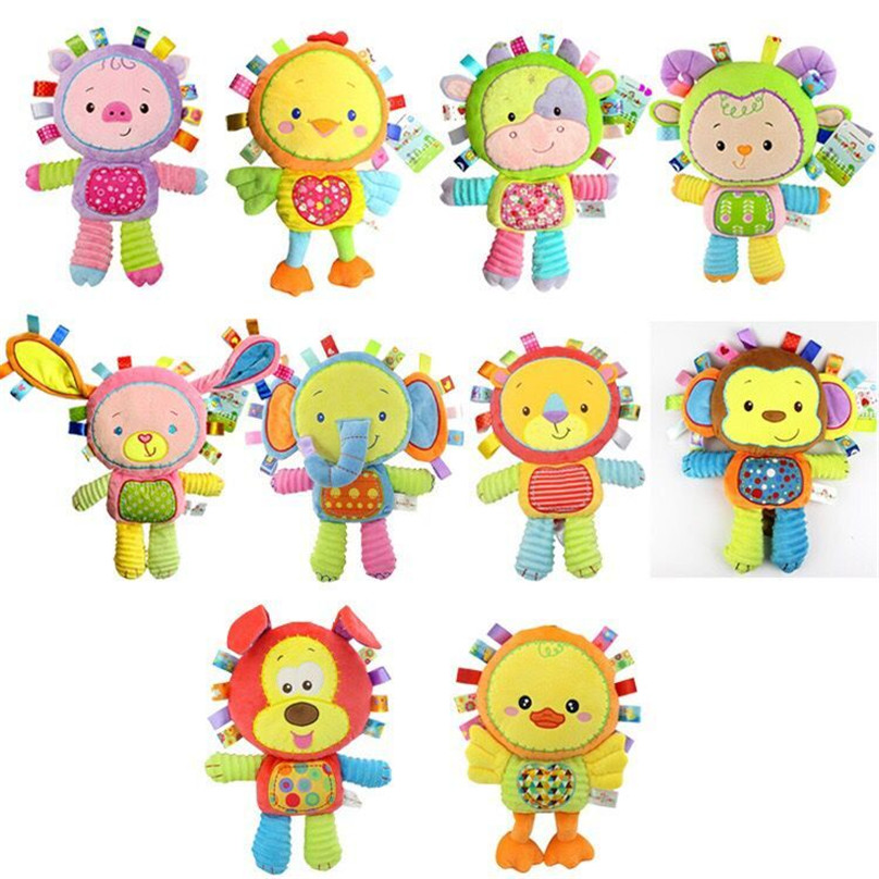 new 30cm plush Cartoon animal lion dog doll hand stick baby toy Hung on me pendant puzzle early education