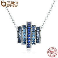 BAMOER Authentic 100 925 Sterling Silver Gradual Change Round Wheel Blue Melody Pendant Necklaces For Women