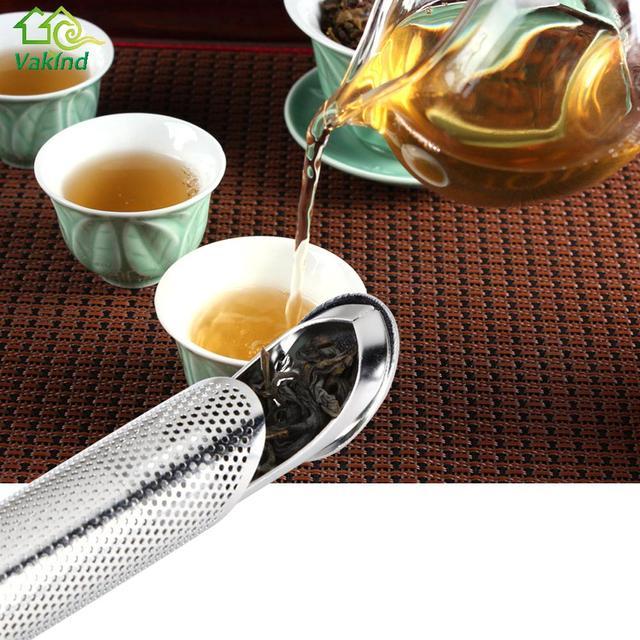 1pcs Stainless Steel Pipe Design Strainer Tea Infuser Feel Good Holder Tool Spoon Filter