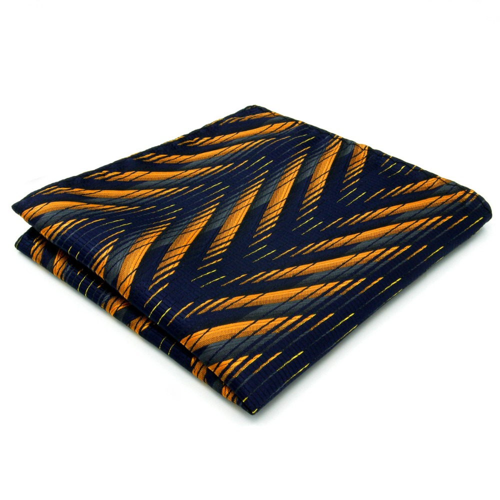 Pattern Navy Gold Handkerchief Pocket Square Silk Big Size Wedding
